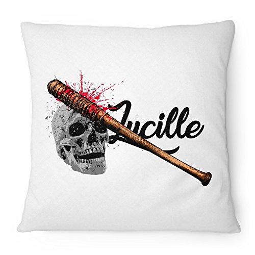 Fashionalarm Kissen Lucille - 40x40 cm mit Füllung | Geschenk Idee für Fans der Serie T-W-D | Dead Walking The Saviors Baseballschläger, Farbe:weiß