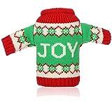 com-four Funda para Botella de Vino - Jersey navideño con Letras Joy - Decoración de Mesa navideña - Funda para Botella navideña (01 Pieza - Joy)