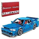 Tecnología bloques de construcción de retroceso de coche, tecnología de carreras modelo de coche para campeones de velocidad Nissan GTR34, 833 piezas bloques de sujeción compatibles con Lego - azul
