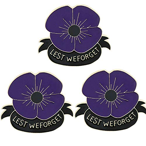 BESPMOSP Pack of 3 Memorial Gifts Poppy Brooches Pins Lest We Forget Jewellery for Women Girls Remembrance Day Gifts (3PCs Purple)