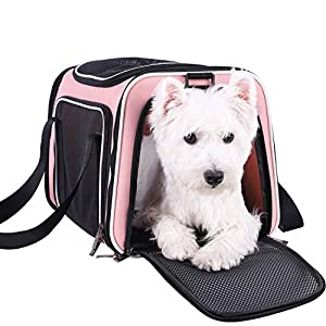 petisfam Pet Carrier for Medium Cats and Small Dogs with Washable Cozy Bed, 3 Doors and Shoulder Strap. Easy to get cat in, Easy to Storage and Escape Proof (Light Pink)