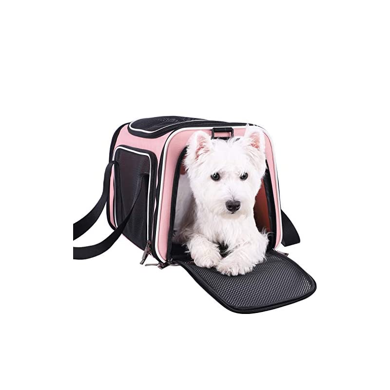 dog supplies online petisfam pet carrier for medium cats and small dogs with washable cozy bed, 3 doors and shoulder strap. easy to get cat in, easy to storage and escape proof (light pink)