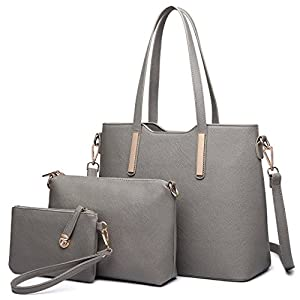 Miss Lulu Women Purses and Handbags Fashion Shoulder Bag PU Leather Top-handle Tote Crossbody Bags Satchel Grey Purse Set 3 Pieces (6648 Grey)