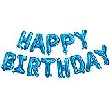 Ponmoo Globos de Happy Birthday Banner - Azul, Cumpleaños Globos para La Decoración Aniversario Fiesta, Globo de Feliz Cumpleaños Suministros Decoración Globo Party
