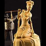 Sculture Statue Ornamenti Figurine Figurine da Collezione Sculture Stile Cinese Intaglio Creativo Scultura di Arte Classica Signora Flauto Erh-HU Statuetta Donna Legno di Bosso Decorazioni Artigianal