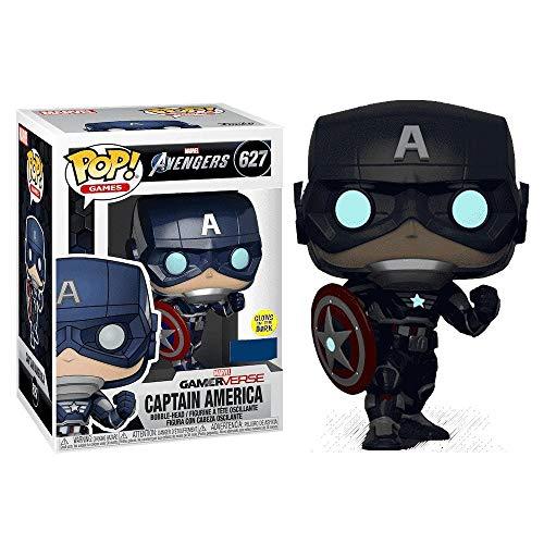 Funko - Figurine Marvel Avengers Game - Captain America Gitd Exclu Pop 10cm - 0889698478182