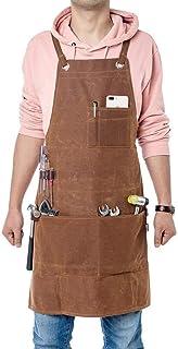Gereedschapsschort voor timmerlieden, zware werkmanschort, waterdicht gewaxt canvas schort geschikt voor keuken, tuin, aar...