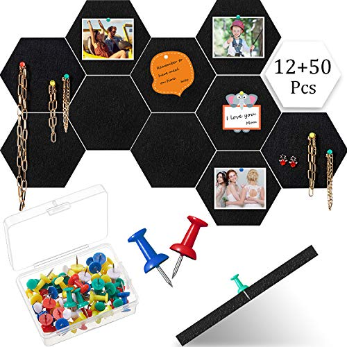 12 Pieces Thick Hexagon Felt Board Tiles Self-Adhesive Pin Board Felt Bulletin Board Tiles Bulletin Memo Board with 50 Multi-Color Push Pins for Home Office Classroom Wall School Decor, 4.7 x 5.5 Inch