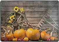 感謝祭エリアラグ、リビングダイニングルーム用パンプキンズヒマワリラグベッドルームキッチン、5'X7'保育園ラグフロアカーペットヨガマット
