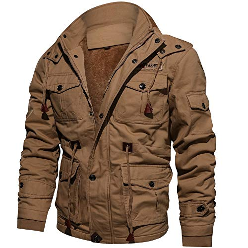 Check Out This FengGa Men Winter Cashmere Thickened Pocket Cotton Coat Outwear Stand Collar Military Breathable Coat Windbreaker Khaki