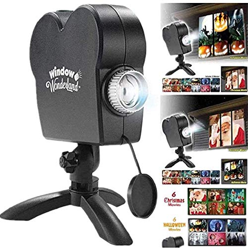 Halloween Holographic Projection,Christmas Projector Lights With A Tripod,Halloween Led Window Projector Light,12 Movies Festival Outdoor Garden Decoration,Enhance The Festive Atmosphere (Black)