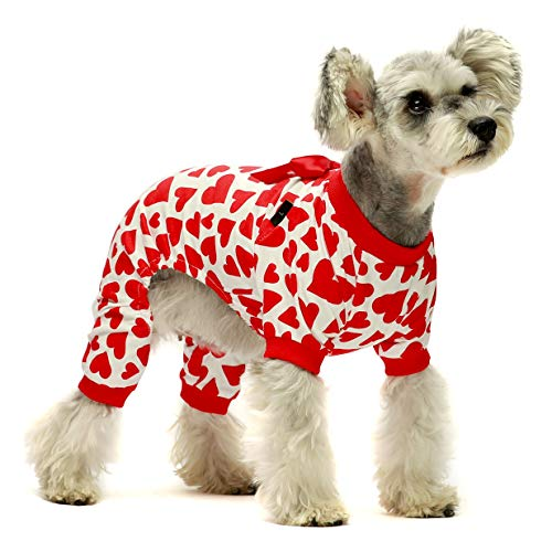 Fitwarm Dog Valentines Day Pajamas Hearts Costumes Pet Clothes Cat Jumpsuits Onesies Jammies Red Medium