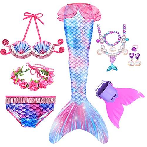 LOBTY Meerjungfrauenschwanz zum Schwimmen mit Meerjungfrau Flosse Mädchen Meerjungfrau Schwanz mit Bikini Set Meerjungfrau Badeanzug und Girlande Stirnband und Jewelry Set Schwimmkostüm für Kinder