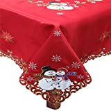 Creative Linens Holiday Christmas Tablecloth 68' Square with 8 Napkins Embroidered Snowman Snowflake Poinsettia Winter Table Linen Red Gold