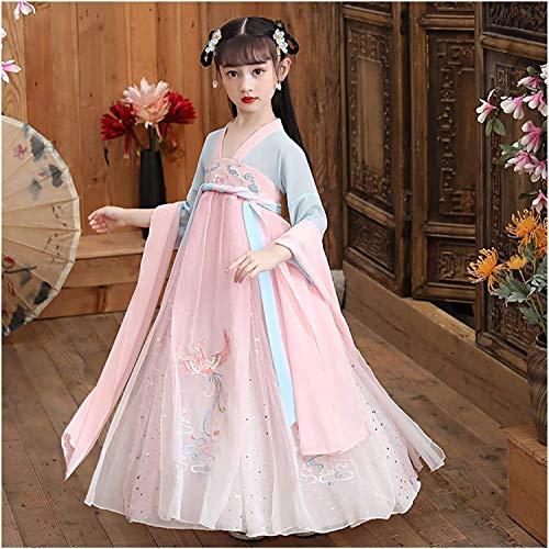 N\A ZT China Linda Princesa Traje Vestido Elegante Estilo Primavera y otoo nia sper Hada Vestido Traje de Falda Hanfu (Color : Style E, Size : 150cm)
