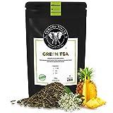 Edward Fields Tea  - Té verde orgánico a granel con Piña y Flores de Sauco. Té bio recolectado a mano con cúrcuma, açai e ingredientes naturales. 100 gramos, China.