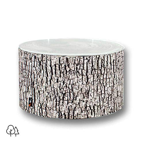 MeroWings – Table d'appoint en forme de souche de frêne avec plan en verre pour extérieur – 35 x 60 cm – Ash Coffee Table