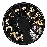 teng hong hui 12 Rejillas de uñas Estrella de la Luna del Remache de manicura manicura Lentejuelas Decals Lentejuelas bandejas de aleación de galvanoplastia de uñas decoración de los Accesorios Set