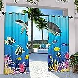Rideaux de terrasse pour extérieur, tortue, poisson-clown, nage, palmes tropicales avec impression d'algues, pour ferme, pavillon, couloir, terrasse, 274 x 213 cm