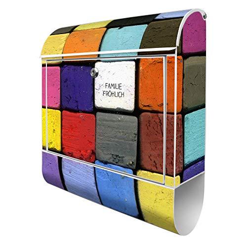 Banjado Design Briefkasten personalisiert mit Motiv Bunte Kreide   Stahl pulverbeschichtet mit Zeitungsrolle   Größe 39x47x14cm, 2 Schlüssel, A4 Einwurf, inkl. Montagematerial