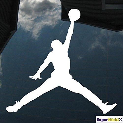 Jordan Logo Basketball sport 20cm Autoaufkleber Auto Aufkleber Decal Sticker von SUPERSTICKI® aus Hochleistungsfolie für alle glatten Flächen UV und Waschanlagenfest Profi Qualität