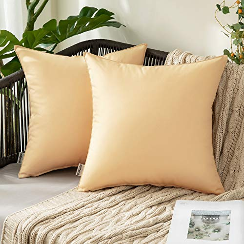 MIULEE Pack of 2 Decorative Outdoor Waterproof Pillow Covers Garden Cushion Sham Throw Pillowcase Shell for Patio Tent Couch 18x18 Inch Khaki