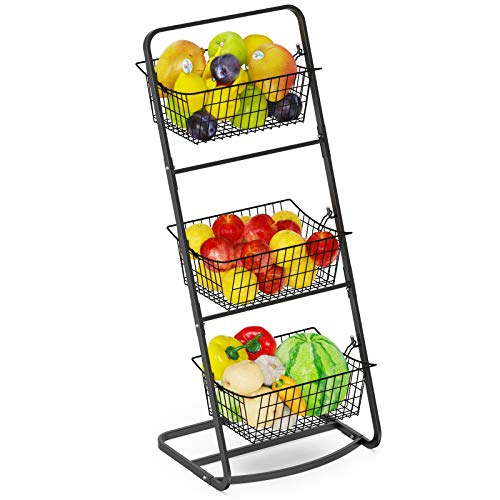 Fruit Basket Stand, Veckle 3 Tier Wire Market Basket Floor Stand with Removable Metal Wire Baskets Vegetables Storage Bin for Kitchen Bathroom Pantry, Black