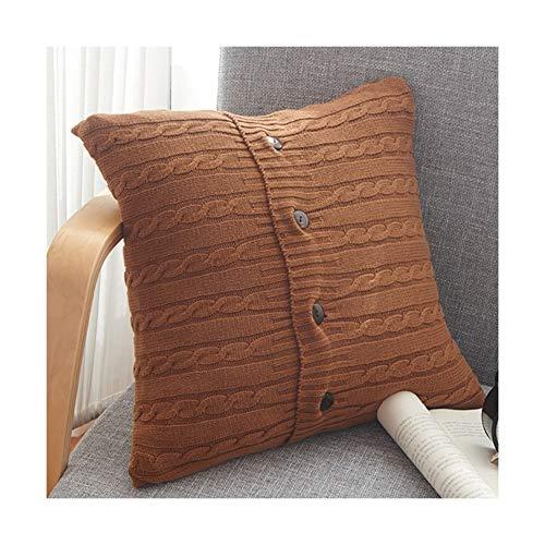 GTYHJUIK Vierkant Breien Kussen Knop Decor Comfortabel Kussen Voor Auto Sofa Bed Taille Kussen/Cotton (Bevat Kussen+Kussensloop 45cmx45cm