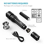 Anker Rechargeable Bolder LC90 LED Flashlight, Pocket-Sized Torch with Super Bright 900 Lumens CREE LED, IPX5 Water-Resistant, Zoomable, 5 Light Modes, 18650 Battery Included 14 SUPER-BRIGHT: 900-lumen (max) Cree LED sweeps bright light over the length of about two football fields (660 ft / 200 m) and reaches nearly 1000 ft. Fully zoomable from wide to narrow beam. Features 5 adaptable settings: High / Medium / Low / Strobe / SOS. LONG-LASTING: Up to 6 hours (Medium-beam mode) of powerful, non-diminishing brightness from the included premium rechargeable 3350mAh battery. LEDs boast an extended 50000-hour lifespan. Recharge in just 6 hours with a 1A adapter (not included) and the included Micro USB cable. TOUGH & RELIABLE: IPX5-rated water resistant and designed for use in heavy rain. Its durable aluminum body and shock-resistance endure rough handling.