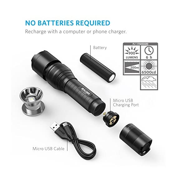 Anker Rechargeable Bolder LC90 LED Flashlight, Pocket-Sized Torch with Super Bright 900 Lumens CREE LED, IPX5 Water-Resistant, Zoomable, 5 Light Modes, 18650 Battery Included 7 SUPER-BRIGHT: 900-lumen (max) Cree LED sweeps bright light over the length of about two football fields (660 ft / 200 m) and reaches nearly 1000 ft. Fully zoomable from wide to narrow beam. Features 5 adaptable settings: High / Medium / Low / Strobe / SOS. LONG-LASTING: Up to 6 hours (Medium-beam mode) of powerful, non-diminishing brightness from the included premium rechargeable 3350mAh battery. LEDs boast an extended 50000-hour lifespan. Recharge in just 6 hours with a 1A adapter (not included) and the included Micro USB cable. TOUGH & RELIABLE: IPX5-rated water resistant and designed for use in heavy rain. Its durable aluminum body and shock-resistance endure rough handling.