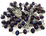 Nazareth Store Dunkelviolette Perlen Rosenkranz Katholische Halskette Heiliger Boden & Kruzifix Kreuz Jerusalem Samtbeutel