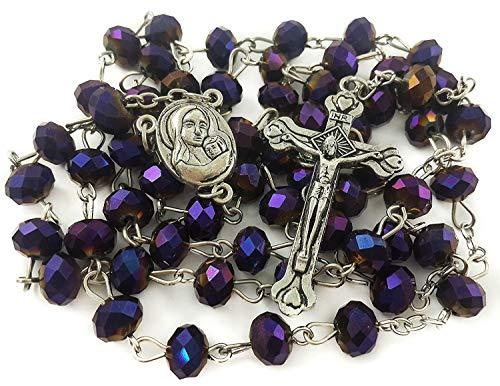 Nazareth Store Deep Purple Beads Rosary Catholic Necklace Holy Soil & Crucifix Cross Jerusalem Velvet Bag