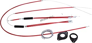 BMX Bike Gyro Brake Cables Front + Rear (Upper + Lower) Spinner Rotor Set Kit (red