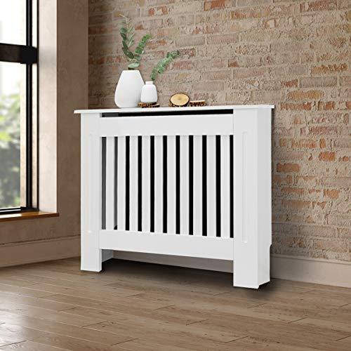 ECD Germany Cubierta del Radiador 78x19x82 cm MDF Blanco Lacado Revestimiento Protector Moderno de Calefacción Estilo Rústico Superficie de Estantería Útil de Madera para Sala de Estar Dormitorio