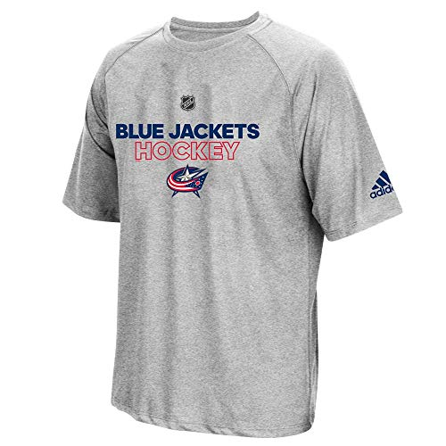 adidas Columbus Blue Jackets NHL Men's Grey Climalite Performance 2017 Authentic Ice T-Shirt (M)