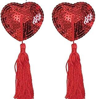 زوج من حمالة الصدر بدون حمالة صدر على شكل قلب بلون أحمر