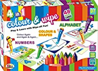 Nexxa-4 in 1 Color & Wipe Off Coloring Kit/Preschool Learning Painting Kit, Best Gift for Young Ones
