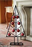 AmaCasa - Albero di Natale in Metallo, 90 cm, Decorazione per Interni ed Esterni, con Ganci, Colore: Nero