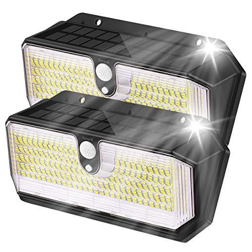 AsperX 282 - Lámparas solares para exteriores, 2200 mAh, con sensor de movimiento, IP65, resistente al agua a 270°, 2 unidades
