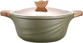 Xilin-shop Olla Recta con Tapa Piedra Derivado Antiadherente Granite Coating Sopa de Olla de cazuela con Tapa Mango de Madera adecuados for 4-6 Personas (Verde) Olla de Acero con Tapa de Cristal