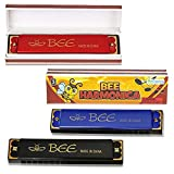 ArtCreativity Bee Harmonicas for Kids, Set of 4, Fun Musical Instruments for Children, Individually Wrapped Music Toys in Gift Box, Fun Birthday Party Favors and Stocking Stuffers for Boys and Girls