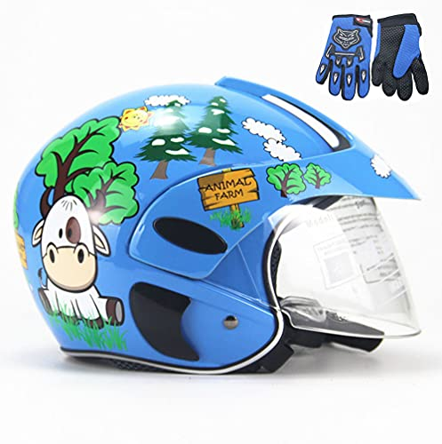RJHY Casco para Motocicletas para niños, Casco de Bicicletas para niños, Casco de Motocicleta de Bicicletas para niños y Guantes, niños y niñas, Adecuado Durante 3-8 años de Edad,Azul