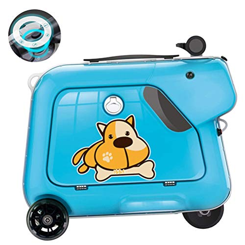 GOLDGOD Luggage Bag, Student Trolley Boarding Suitcase Toy Box Rideable Electric Children's Luggage Smart Riding Suitcase Electric Suitcase Scooter,Blue