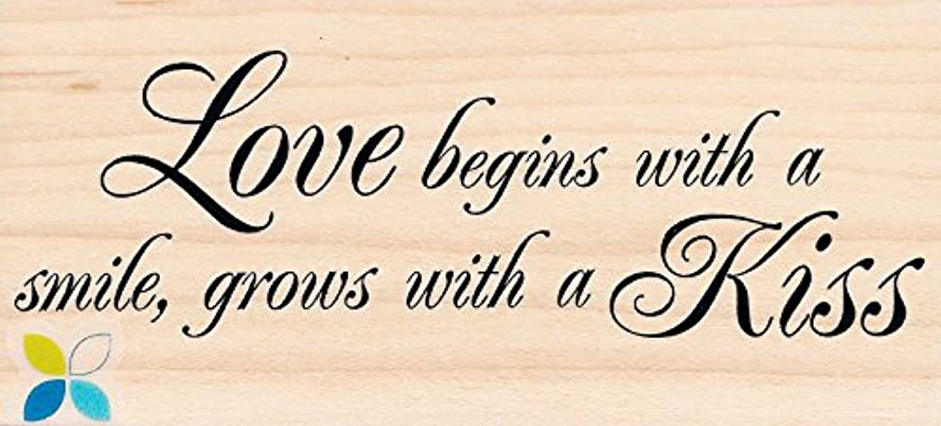Love Begins with a Smile, Grows with a Kiss - Wood Mounted Rubber Stamp