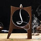 Flow.month Black Walnut Wooden Originality Backflow Incense Burner Holder Censer with 9 Cone Incense...