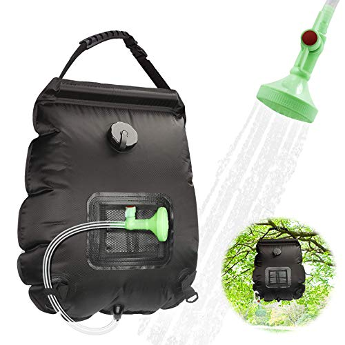 Ranjima Solar Shower Bag Black, 5 gallons/20L Portable Heating Camping Shower Bag, Solar Shower Bag with Removable Hose and OnOff Switchable Shower Head for Camping Traveling Hiking Fishing