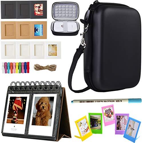 SAIKA Printer Accessories Bundle for HP Sprocket Portable Photo Printer (2nd Edition)- [HP Sprocket Case+Photo Album+Wall Hanging Frame+Table Frame+ Pens] - Black Camera Cases