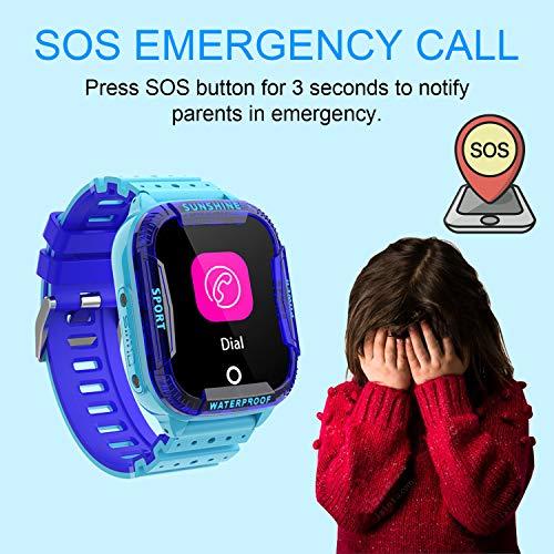 Kinder Intelligente Uhr Wasserdicht, Smartwatch WiFi Tracker mit Kinder SOS Handy Touchscreen Spiel Kamera Voice Chat Wecker für Jungen Mädchen Student Geschenk (K22 Blau)