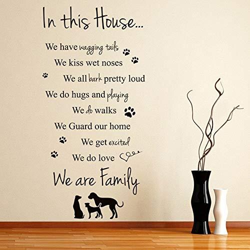 Schöne Haus Wandtattoo In Diesem Haus Hunde Familie Pet Quote Innendekoration Haustiere Shop Vinyl Wandaufkleber Wohnzimmer Kunstwand 42 * 86cm A