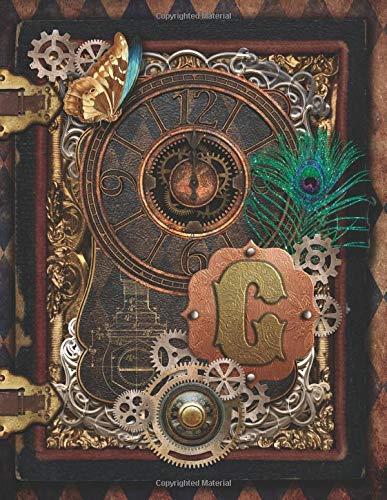 G: Steampunk Ornate Artistic Cover Notebook Mongram Initial G 8.5x11